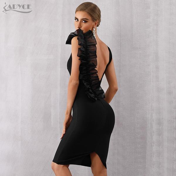 Adyce Yeni Yaz Bodycon Bandaj Kadınlar Seksi Siyah V Yaka Ruffles Mesh Backless Vestidos Ünlü Akşam Parti Elbise Q190510