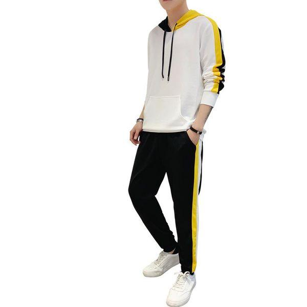 Rlyaeiz 2019 Spring Autumn Tracksuit Men Set Hot Sale Korean Casual Sporting Wear Striped Hoodies + Pants Male Sporting Suits