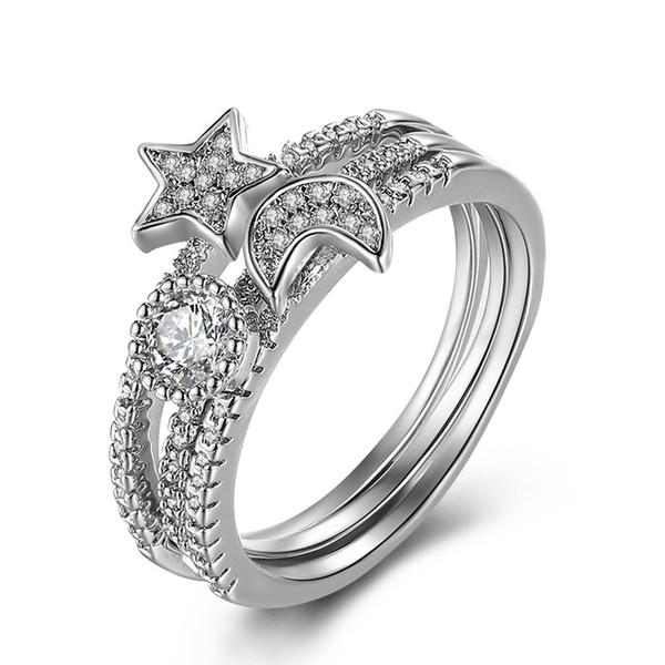 Crystal Moon Silver Ring Diamond Moon Star Anillos Abierto Ajustable Rgins Diseñador Anillos Joyas para Mujeres Will y Sandy Dropship