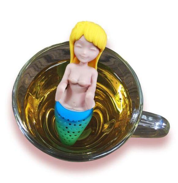 DHL Mermaid Tea Infuser Silicone Reusable Strainer Filter Teapot Infuser Teaspoon Tea Leaf Spice Filters tool Drinkware