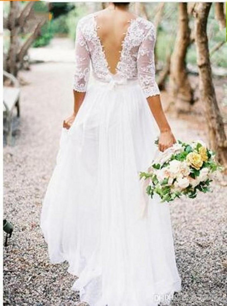 2018 New Bohemian Wedding Dresses Lace 3/4 Long Sleeves V-neck Low Back A-line Chiffon Plus Size Summer Beach Country Bridal Wedding Gown