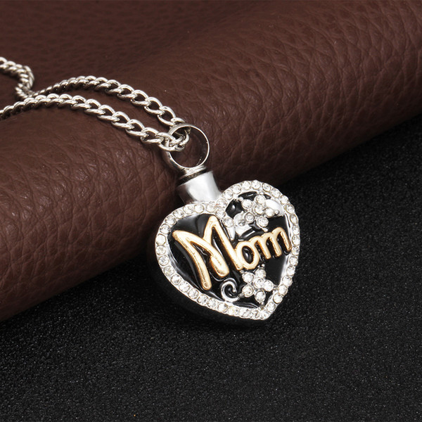 Japan and South Korea popular mother letter love heart shaped casket necklace can be opened with diamond flower love pendant wholesale
