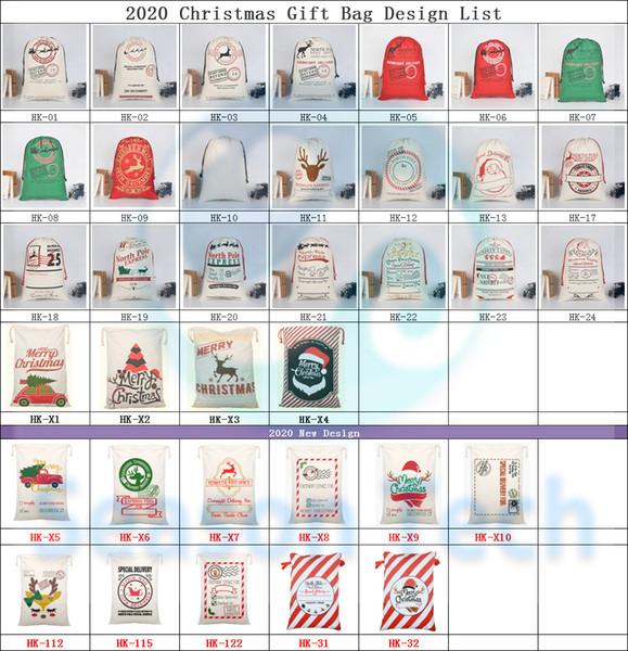 best selling 2020 Christmas Gift Bags Large Organic Heavy Canvas Bag Santa Sack Drawstring Bag With Reindeers Santa Claus Sack Bags for kids