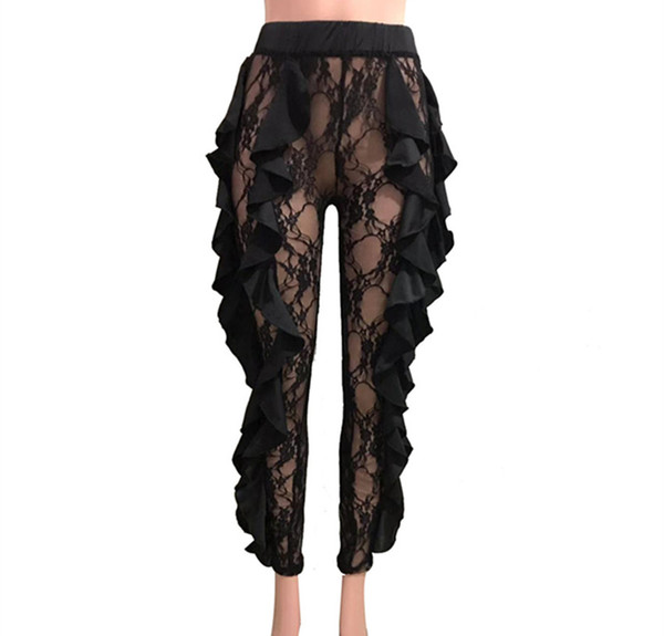 Women Pants Long 2019 Summer Perspective Black Designer Skinny Pants for Womens Clothing Tight-fitting Trousers Sexy Lace Capris S-XL