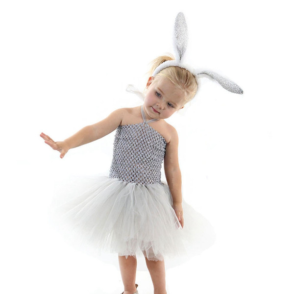 2pcs/lot Kids clothing suit casual cotton toddler Easter bunny girls overalls princess dress+hair sticks set outfits children clothing