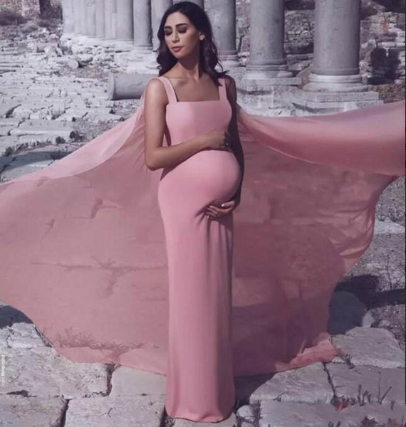 Said Mhamad Sheath Prom Dresses For Pregnant women Blush Pink Square Neckline Open Back Full Length Evening Dress With Wraps Party Cheap