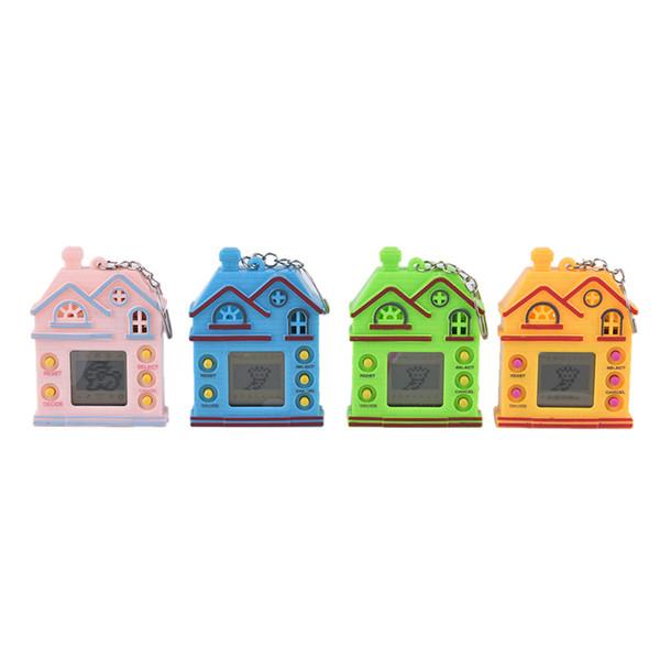 Machine de jeu nostalgique avec porte-clés Mini House Design Key Ring Virtual Digital Animaux électroniques Jouet Keychain 4 couleurs