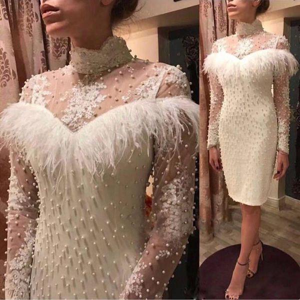 Gaine blanche longueur au genou plumes robes de bal à haut col en dentelle à manches longues avec perles Robe de soirée cocktail Robes de soirée courtes 2019