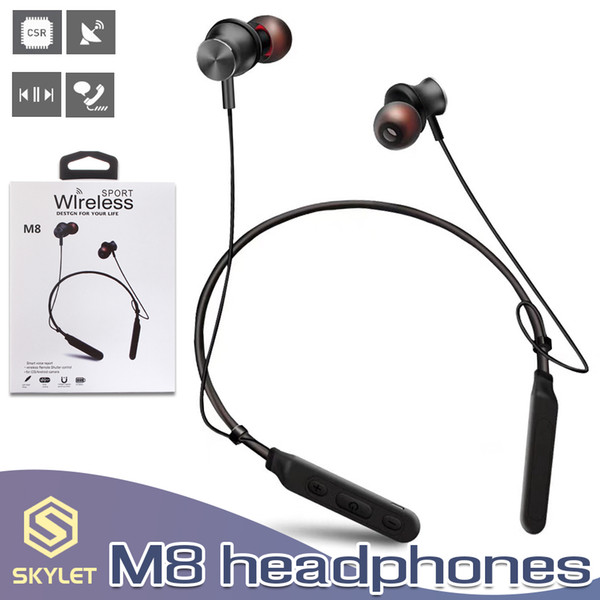 m8 bluetooth headphones wireless neckband earphone magnetic sport stereo headset handsnoise cancelling with mic in box