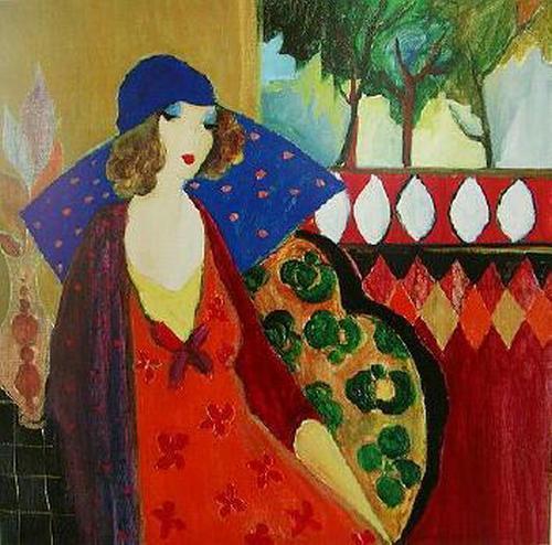 Itzchak Tarkay Nouvelles Figuration Home Kunstwerke Modern Senhora Portrait handgefertigt Ölgemälde auf Leinwand konkave und konvexe Textur IT029