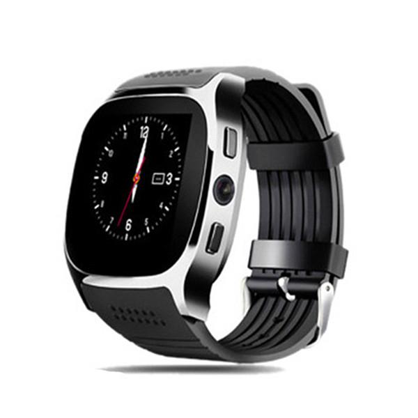 Nuovo Smartwatch intelligente Bluetooth Sport intelligente orologio T8 pedometro per telefono Android da polso di sostegno SIM TF chiamata pk DZ09 U8 Q18