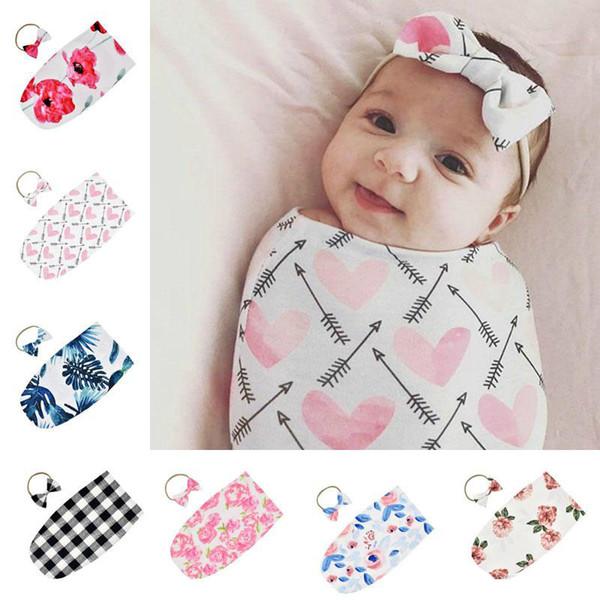 top popular Newborn Infant Baby Swaddle Sleeping Bags Baby Muslin Blanket + Headband Baby Soft Cocoon Sleep Sack Bow Headband 2pcs set 7 Colors 2021