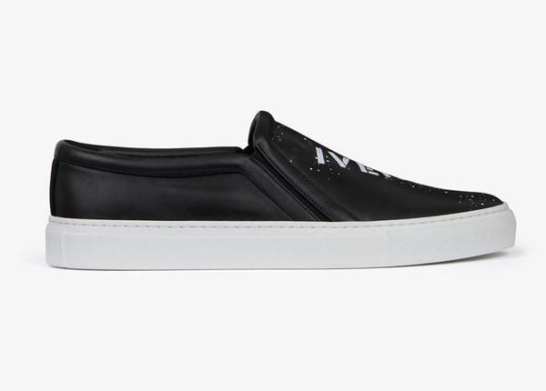 Moda adam kadınlar lüks tasarımcı ayakkabı baskılı slip-on sneaker siyah gerçek deri en kaliteli rahat elbise ayakkabı italya el yapımı ayakkabı