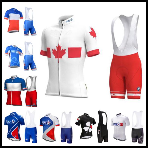 FDJ Pro team Ciclismo Jersey Set Hombres Camisa de manga corta Bib Shorts Traje de Alta Calidad Ropa Ciclismo deportes de verano ropa de bicicleta