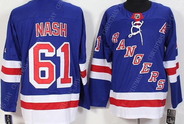 Custom RICK NASH MENS BLUE JERSEYS NUEVO N.Y. RANGERS Personalidad de puntada cualquier nombre de número