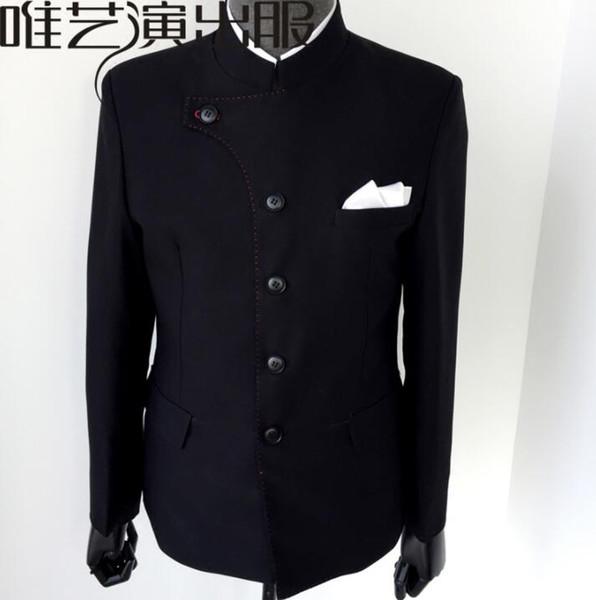 Abiti neri uomo Abito tunica cinese disegna costumi da palcoscenico maschile per cantanti giacca da uomo giacca da ballo stile stella