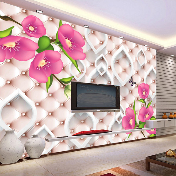 3d modern classic flowers butterfly soft leather texture mural wallpaper TV sofa bedroom background Wall decor