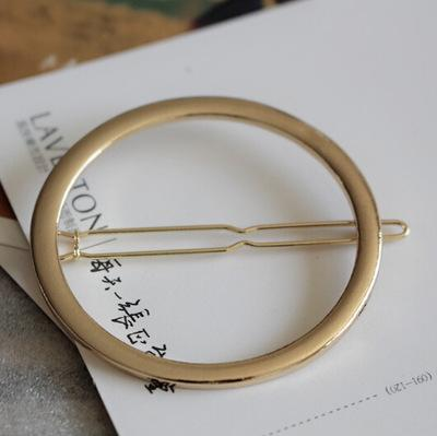 New Woman Hair Accessories Moon Circle Simply Roundness Alloy Hair Pin Clip Headdress Girls Fashion Hairgrips
