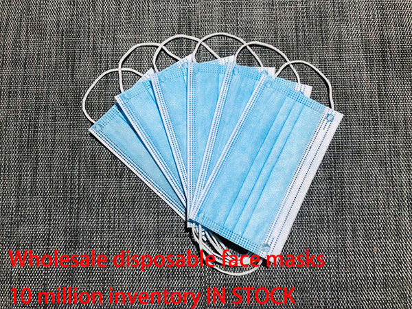 in stock disposable face mask 3 layer ear-loop dust mouth masks cover 3-ply non-woven disposable dust mask soft breathable outdoor part