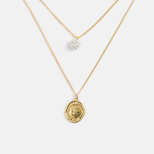 2019 neue heißen Verkauf-moderne Retro- Gesicht Antike Münzen Legierungs-Korn-Halskette einfache Art-Multi-Layer-Halskette