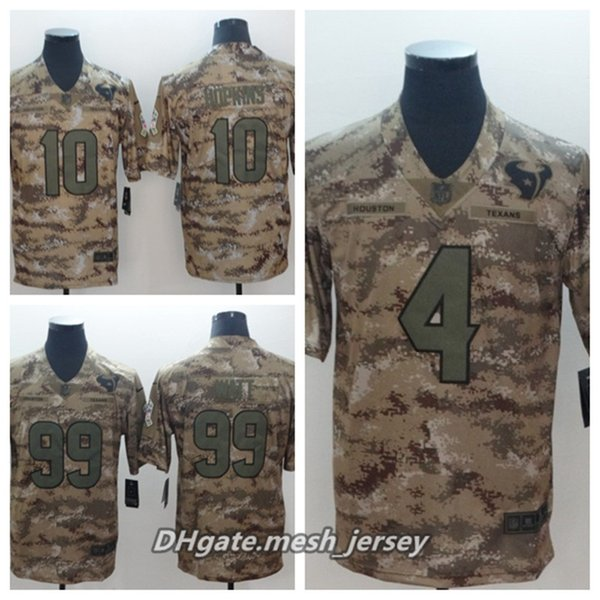 detailed look 94e3c ee925 2019 Men Houston Texans Football Jersey 99 J.J. Watt 10 DeAndre Hopkins 4  Deshaun Watson Camo Salute To Service Limited Stitching Jersey From ...