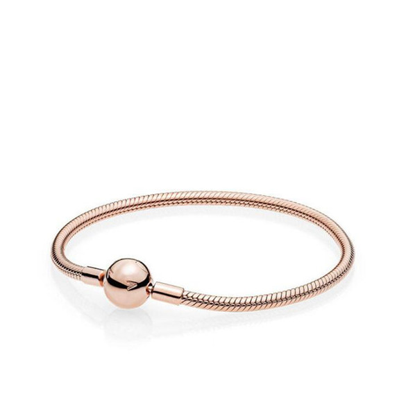 top popular Beautiful Women 18K Rose Gold 3mm Snake Chain Bracelet Fit Pandora Silver Charms European Beads Bracelet DIY Jewelry Making 2021