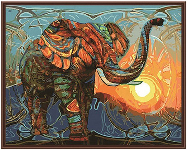 "best selling Oil Paint Adult Hand Painted DIY Painting By Numbers Kits Paint-Abstract elephant 16""x20"""