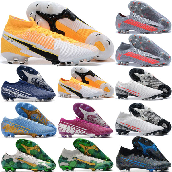 top popular 2020 New Mens Mercurial Vapors XIII Elite Metallic Bomber Gray FG Football Shoes Top Quality ACC Superfly VII 360 Soccer Cleats 39-45 2020