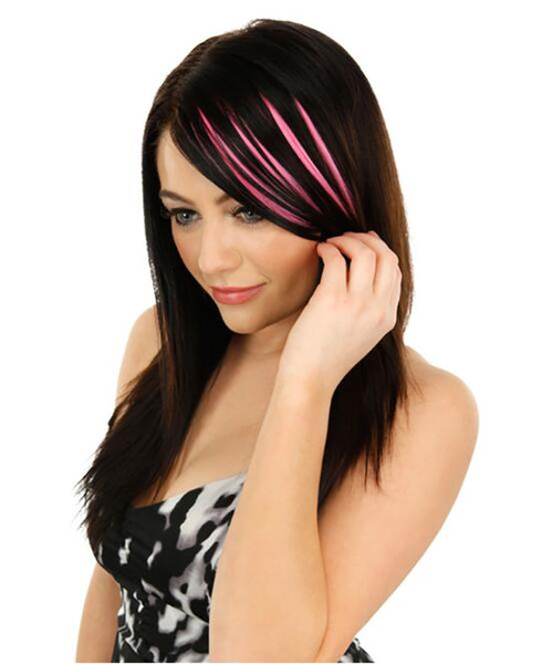 top popular 10pcs Straight Bang Highlights Gradient Color Hair Piece Colorful bangs Seamless Hair Extension New Chic Elegant Hair Weaving For Girls 2019