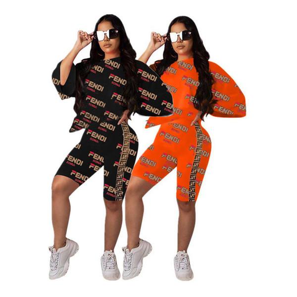 frauen designer trainingsanzug kurzarm outfits hemdhosen zweiteiliges dünnes hemd kurze strumpfhosen sportanzug pulloverhosen klw0923