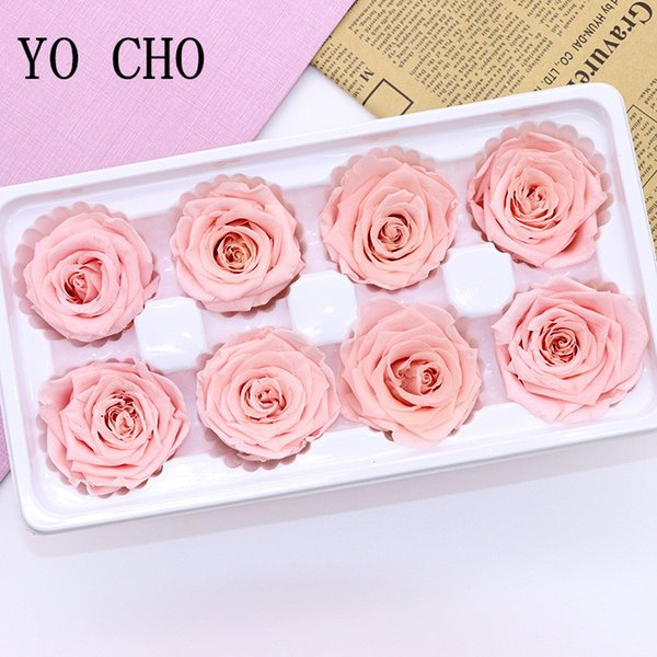 Yo Cho 8 Pcs/box High Quality Flowers 4-5cm Preserved Eternal Roses Valentines Day Newyear Gifts Immortal Rose Q190522