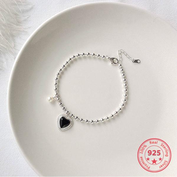 Gioielli da donna in argento sterling 925 con retro semplice cuore nero vintage con perle in ambra