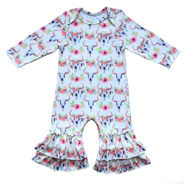 Bull Head Stear Ruffle Romper Baby Boy Romper Christmas Outfit Infant Sleepers Baby Girls Pajama Gown Buffalo Plaid Jumpsuit J190523