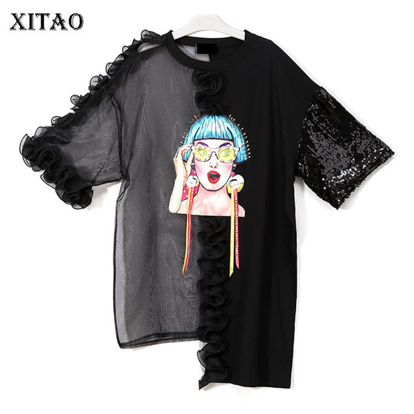 [XITAO] Corea del verano moda para mujer camiseta del o-cuello de tres cuartos de manga con lentejuelas Patchwork suelto Pullover irregular KZH305 Q190522