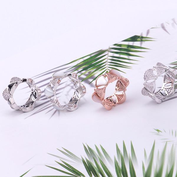 Luxus Modemarke Schmuck Dame Messing Weiß Perlmutt Einstellung Diamant Sektor Rock Form 18 Karat Gold Hochzeit Verlobungsringe Size6-9