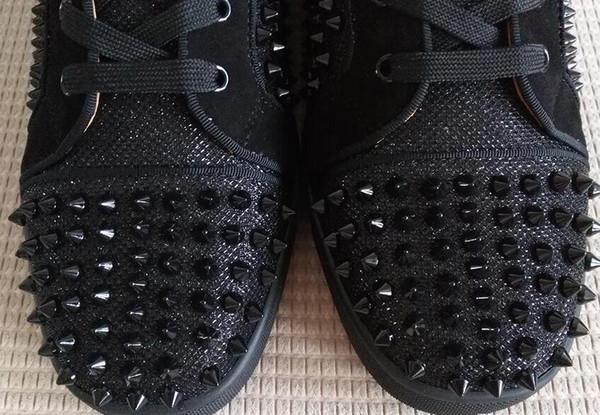 Picos de moda Hi Top Sneakers Zapatos rojos Mujeres Hombres Zapatillas de deporte lona negra de alta calidad Picos con cordones Suela roja Luxury Part 6sv