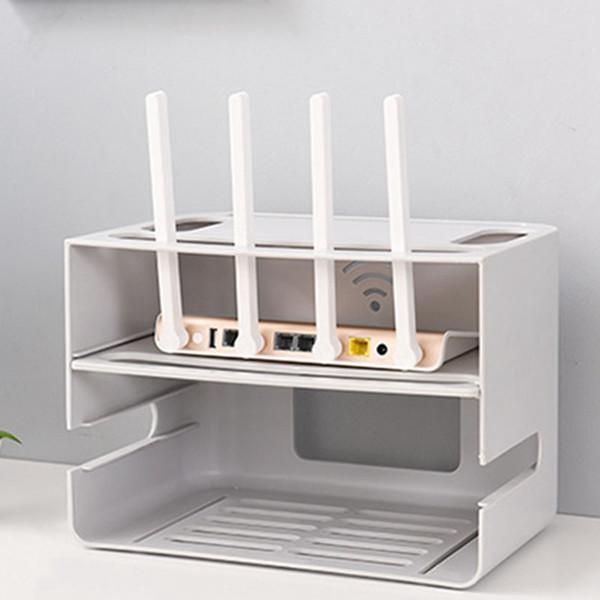 Las capas dobles de tipo cajón WIFI Router Caja de almacenamiento Plug Junta soporte del cable del organizador del almacenaje