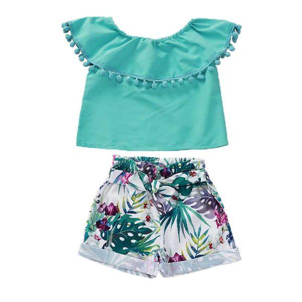 Kids Girl Two-piece Suit Off Shoulder Pellet Solid Sets Tropical Green Plant Flower Printing Elastic Waist Bow Shorts Suit