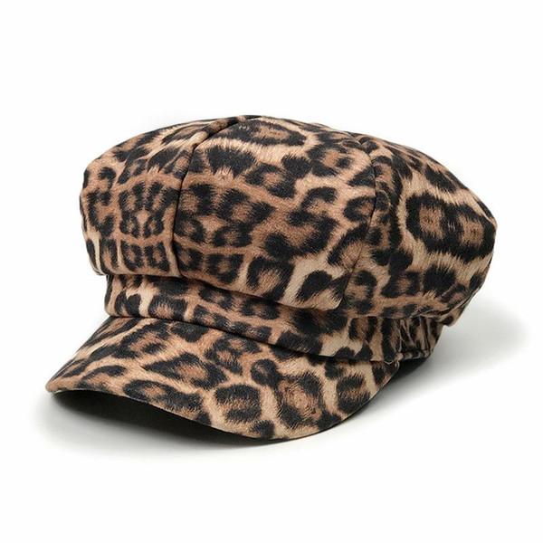 [] Lakysilk Mujer leopardo de la mujer sombrero de invierno Print Caps señoras ocasionales las gorras de béisbol de algodón Beret Sombreros mujer de moda las niñas