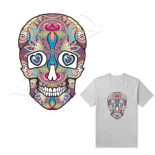 Hip-hop Clothes Stickers Flower Skulls Patches Girls Boys T-shirt Hoodies Stickers Heat Transfer Parches Washable Heat Press Appliques