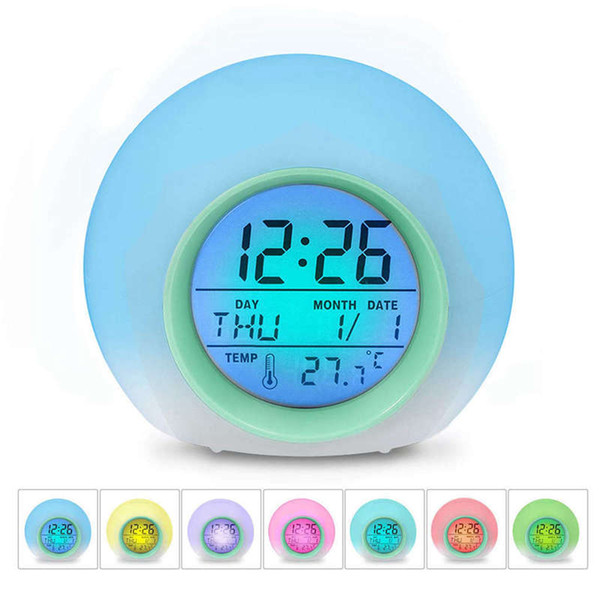 HOT-Kids Alarm Clock - Wake Up Light Digital Clock With 7 Colors Changing, Press Control And Snooze Function For Bedrooms