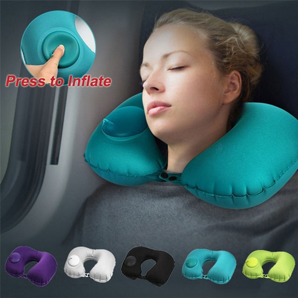 Inflatable Travel Pillow, Air Neck Pillow Lightweight Stay Cool Fabric Self Pump Up Neck Support in Airplane Travel