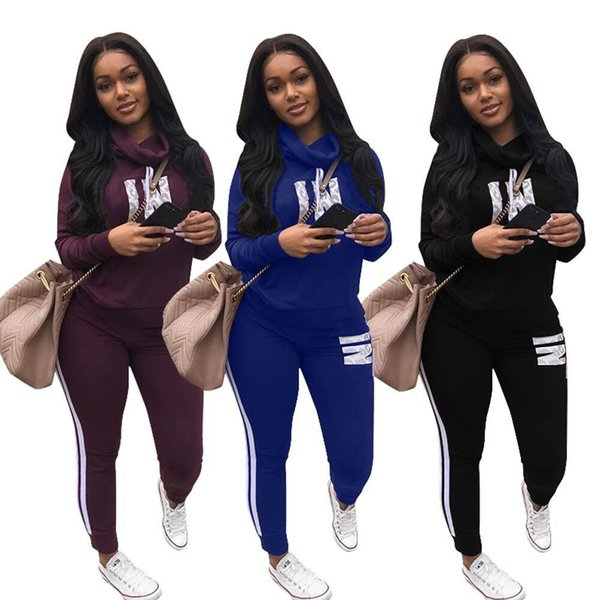 Commercio all'ingrosso 2018 nuovo stile di colore puro lettera stampa signora tute del sudore moda traspirabilità donne 2 pezzo vestito personalità donne tuta