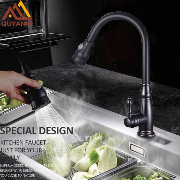 Black Nickel Chrome Pull Out Kitchen Faucet 2-way Spray Single Handle Mixer Tap 360 Rotation Sprayer Torneira Cozinha