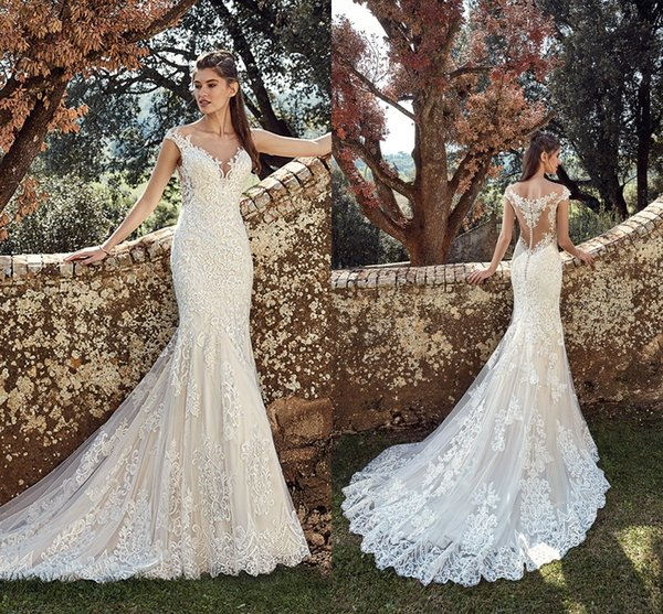 top popular Sexy Beach Full Lace Mermaid Wedding Dresses Beach 2019 Sheer Neck Illusion Button Back Bohemian Wedding Dresses Bridal Gowns Boho 2019