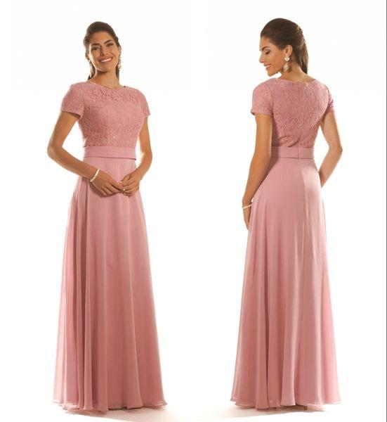 Por encargo Dusty Pink Lace Chiffon Vestidos largos de dama de honor con mangas en forma de una línea Larga hasta el piso Mujer Modesta Vestidos de fiesta de boda
