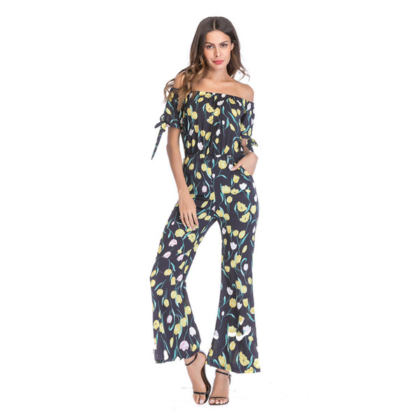 Hot Sale Bohemian Chiffon Print Lace Up Jumpsuits Rompers Off Shoulder Plus Size Women Jumpsuit Summer Beach Sexy Loose wide leg Playsuits
