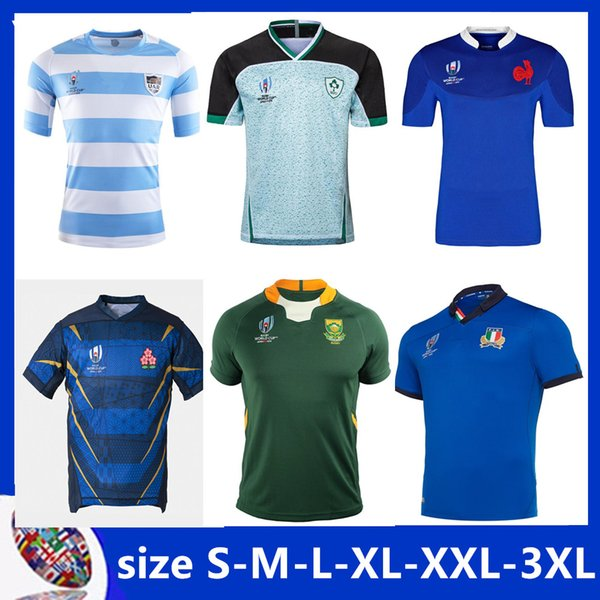 top popular ARGENTINA HOME RUGBY WORLD CUP 2019 JERSEY SCOTLAND Rugby Japan World Cup SOUTH AFRICA Fiji Wales shirt Samoa rugby jersey Size S-3XL 2019