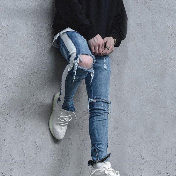 Высокая улица Kanye West мужчины джинсы стрейч синий уничтожены разорвал дизайн боковые полосы лодыжки молния тощий байкер джинсы отверстие брюк