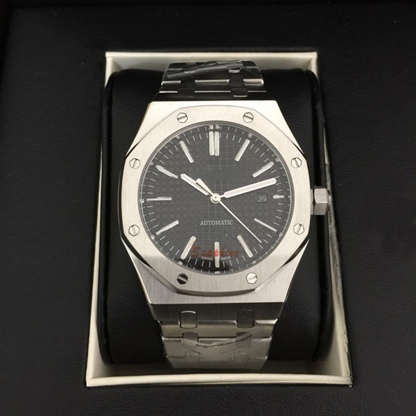 rayal oak 15400 men watch automatic stainless steel case and band black dial in stock wholesale good price